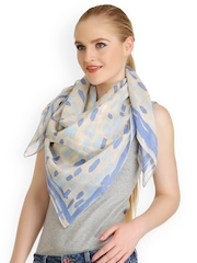 CoolThreads Women Beige & Blue Printed Scarf