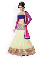 Touch Trends Cream-Coloured & Blue Georgette Semi-Stitched Lehenga Choli Material with Dupatta