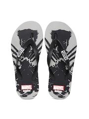 Kook N Keech Marvel Men Black & Grey Printed Flip-Flops