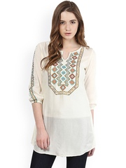 Taurus Women Off-White Embroidered Tunic