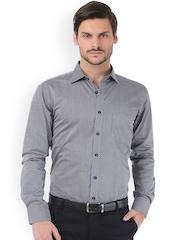 Basics Men Grey Striped Trim Fit Semiformal Shirt