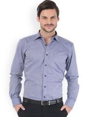 Basics Men Blue Striped Trim Fit Semiformal Shirt