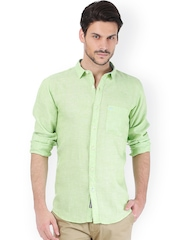 Basics Men Green Linen Slim Fit Casual Shirt