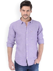 Basics Men Purple Slim Fit Linen Casual Shirt