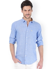 Basics Men Blue Linen Slim Fit Casual Shirt