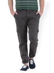 Basics Men Charcoal Grey Tapered Fit Cargo Trousers