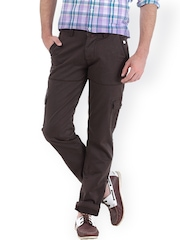 Basics Men Brown Tapered Fit Cargo Trousers
