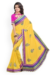 Touch Trends Yellow Embroidered Georgette Fashion Saree
