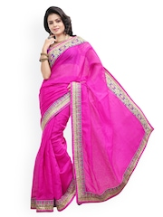 Touch Trends Pink Jacquard Fashion Saree