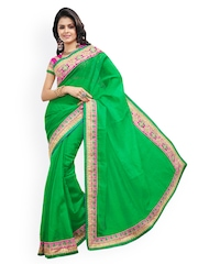 Touch Trends Green Jacquard Fashion Saree