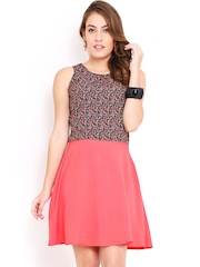 Trend Arrest Pink & Black Printed Fit & Flare Dress