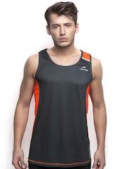 Alcis Men Black & Orange Sleeveless Slim Fit T-shirt