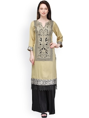 Aujjessa Beige & Black Embroidered Kurta with Sharara Pants