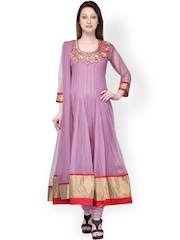 Aujjessa Mauve Embroidered Anarkali Churidar Kurta with Dupatta