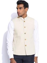 Peter England Light Beige Italian Fit Nehru Jacket