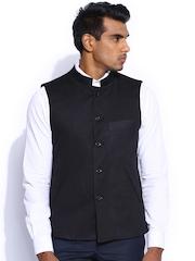 Peter England Black Italian Fit Nehru Jacket