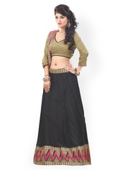 7 Colors Life Style Copper-Toned & Black Embroidered Net Semi-Stitched Lehenga Choli Material with Dupatta