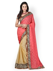 Anoha Red & Beige Crepe Jacquard Partywear Saree