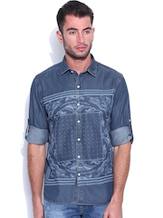 Ed Hardy Blue Printed Denim Shirt