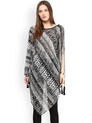 Taurus Black & White Printed Kaftan Tunic