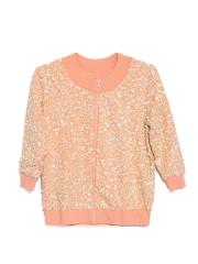 Vero Moda by Karan Johar Women Peach-Coloured Sequinned Jacket