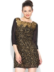 Vero Moda by Karan Johar Black Sequinned Sheath Dress