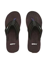 Sparx Men Black & Brown Flip-Flops