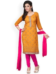 Florence Mustard Yellow & Magenta Embroidered Chanderi Cotton Semi-Stitched Dress Material