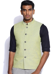 Peter England Lime Green Italian Fit Linen Nehru Jacket