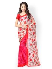 Vaamsi White & Red Chiffon & Georgette Printed Saree