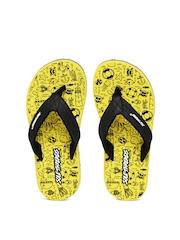 Sole Threads Kids Black & Yellow Beach Print Flip-Flops