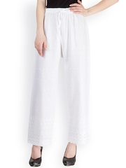 Castle White Embroidered Palazzo Trousers