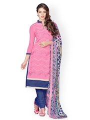 Prafful Pink & Blue Chanderi Cotton Unstitched Dress Material