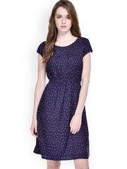 Ruhaans Blue Printed A-Line Dress