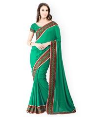 Triveni Green Jacquard Partywear Saree