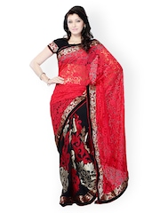 Colors Red & Black Embroidered Brasso Fashion Saree