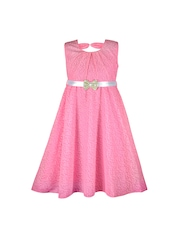Peaches Girls Pink Lace Fit & Flare Dress