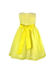 Peaches Girls Yellow Fit & Flare Dress