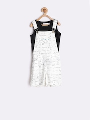 naughty ninos Girls Off-White Printed Dungarees With Top