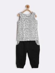 naughty ninos Girls White & Black Printed Clothing Set