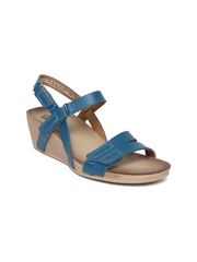 Clarks Women Teal Green Leather Wedges