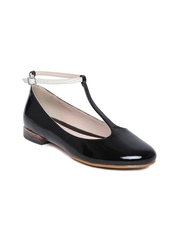 Clarks Women Black Leather Glossy Flat Shoes