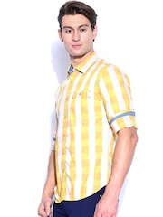 Highlander Yellow & Beige Checked Slim Fit Casual Shirt