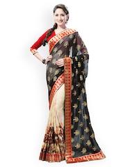 Bhelpuri Black & Cream-Coloured Printed Crepe & Georgette Partywear Saree