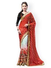 Bhelpuri Red & Off-White Printed Georgette Partywear Saree