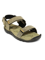 Woodland Men Olive Green Leather Sports Sandals