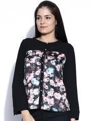 Sepia Black Floral Print Top