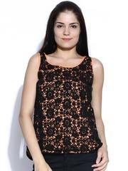 Sepia Black Crochet Top