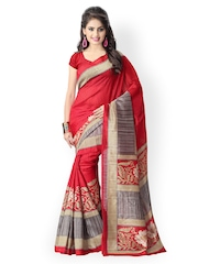 Vaamsi Red & Beige Tussar Art Silk Printed Saree