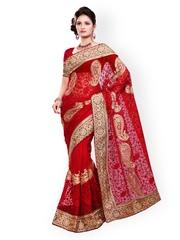 Saree Swarg Maroon Embroidered Net Partywear Saree